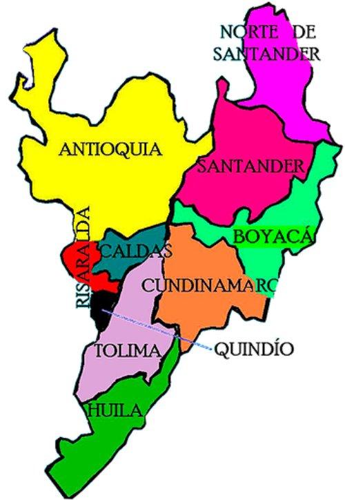 mapa politico de la region andina