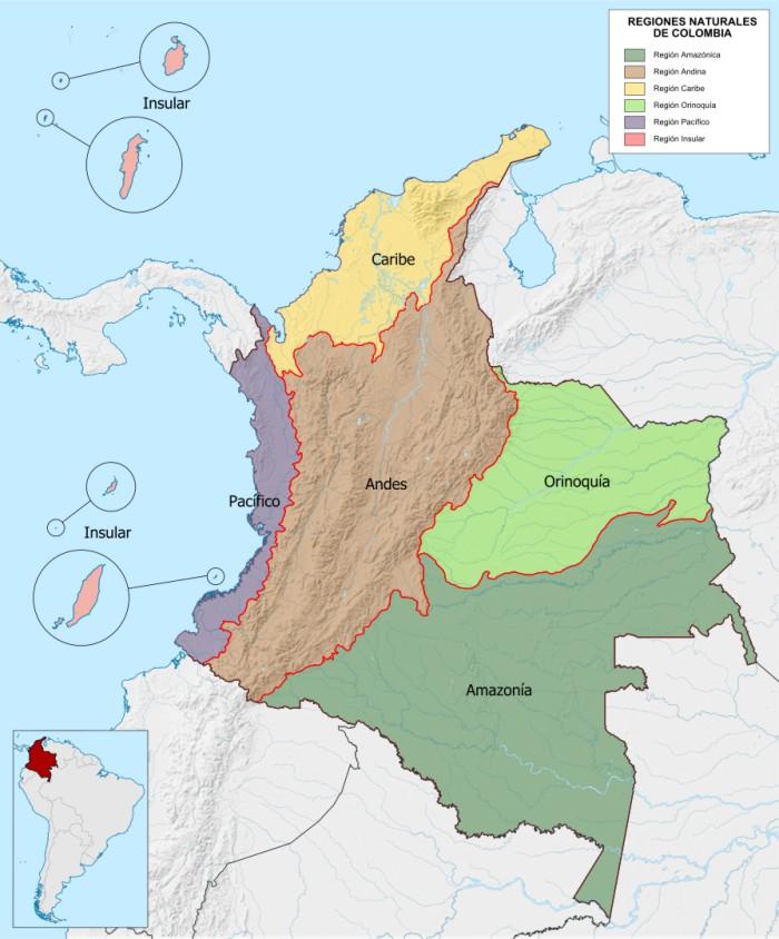 mapa de colombia con las regiones naturales y sus departamentos