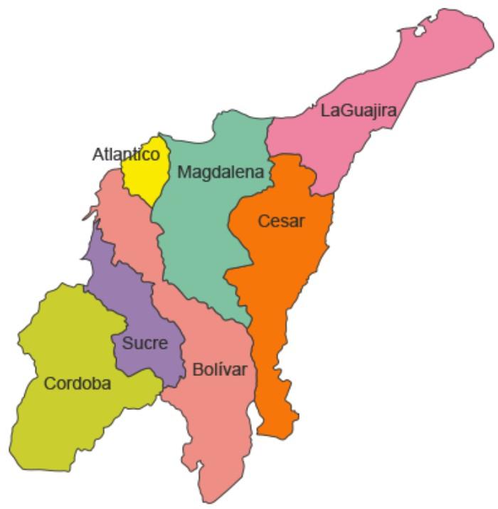 division politica de la region caribe