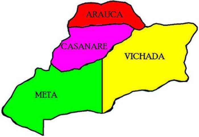 mapa de la orinoquia