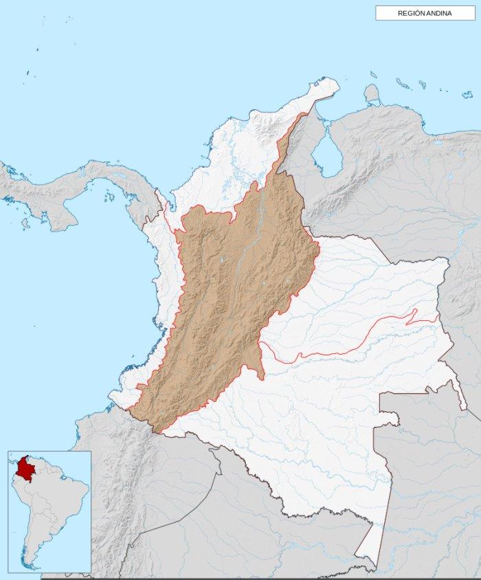 ubicacion en el mapa de la region andina