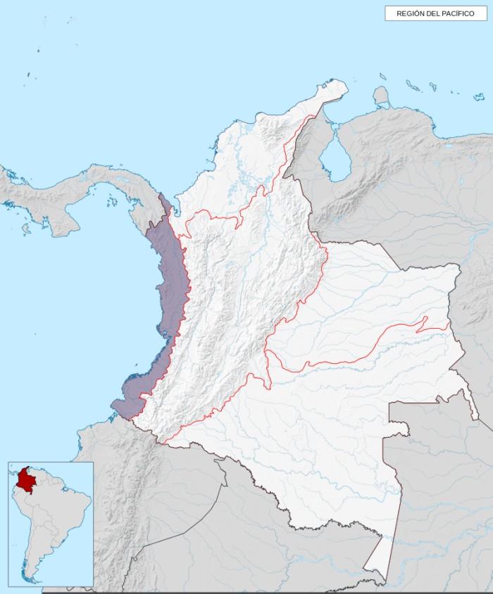 mapa de la region del pacifico en colombia