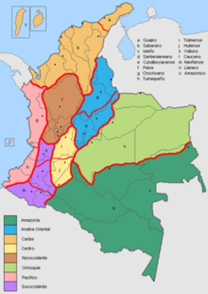 cuales son las regiones socioculturales de colombia