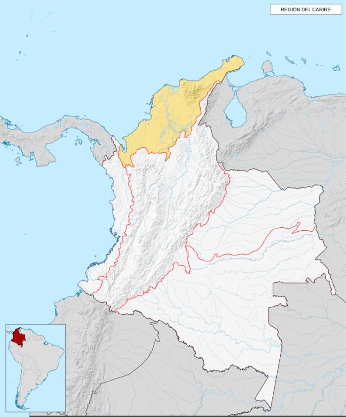 mapa de la region caribe